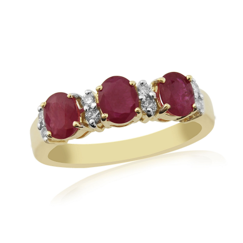 Eternity Yellow Gold Ruby And Diamond Dress Ring